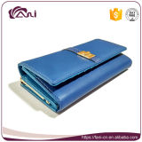 青く長いPUの革女性の金属フレームの札入れの財布