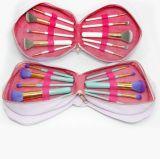 cepillos de encargo del maquillaje del nuevo diseño 10PCS con el bolso de la dimensión de una variable de la flor