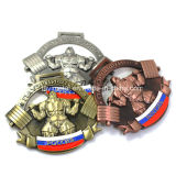 リボンが付いているカスタマイズされた金属の重量挙げのスポーツ賞メダル