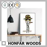 Pintura decorativa animal do estilo americano no frame de madeira