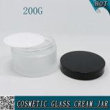 choc en verre cosmétique givré par 200g avec le couvercle en aluminium noir 200ml