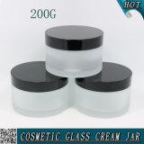 200g bereiftes kosmetisches Glasglas mit schwarzer Aluminiumkappe 200ml