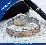 Reloj de encargo de la parte posterior del acero inoxidable de los pares de la nueva del diseño de manera fábrica del reloj