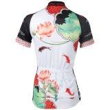 La riga respirabile di riciclaggio del pullover delle brevi donne del manicotto di estate del loto esterno di stile cinese di sport del Han ha modellato
