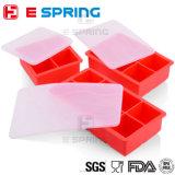Поднос кубика льда силикона полостей OEM 6 с размером льда 3 квадрата крышки