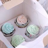 Cadre 6/4paper estampé par logo personnalisé pour la boîte à gâteau/gâteau/boîte à gâteau avec le guichet clair de PVC de plastique