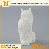 Arte de cerámica blanco del buho de la decoración casera