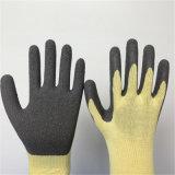 Поли перчатки безопасности с покрытием латекса морщинки