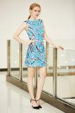 Vestido de SHIFT Sleeveless de Ponte da garganta do barco com a cópia das flores da colocação de Digitas