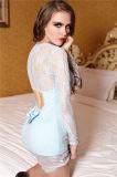 Втулка короткой юбки Pruple сексуальной черноты женское бельё платья шнурка голубая плотно длинняя