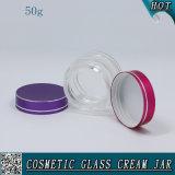 50ml löschen Glasgesichtssahneglas mit farbigen Aluminiumkappen