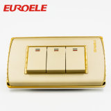 PC Plate Gold Color 250V / 10A 122 * 70 * 37mm Electric Wall Switch