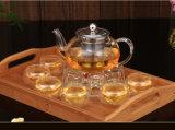 Чашки чая стеклянной стены двойника боросиликатного стекла чайника установленной стеклянные
