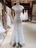 V vestido de casamento do laço da luva do tampão da garganta
