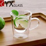 Grande tazza di tè di vetro libera Heatproof a doppia parete con la maniglia/macchina di alta qualità che salta la tazza doppia libera di vetro tè/del caffè
