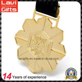 Custom Design Gold Plating Metal Medal with Ribbon