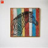 Картина маслом искусствоа стены зебры живой природы деревянная