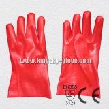 Красная перчатка PVC промышленная с сертификатом Ce (5108-27)