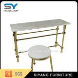 レストランの家具の金属の足MDFのガラスコンソールテーブル