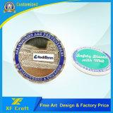 중국 공장 (XF-CO07)에 있는 전문가에 의하여 주문을 받아서 만들어지는 금속 아연 합금 연약한 사기질 도전 기념품 동전