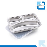 3 compartiments Rectangulaire en acier inoxydable Fast Food Tray Snack Tray