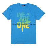 T-shirt en gros de bleu de coton de Pima personnalisé par 100%