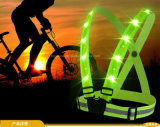 Gilet r3fléchissant de visibilité de gilet fluorescent élevé du fonctionnement DEL