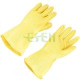 De zwarte en Gele Handschoenen van het Werk van het Latex van de Kleur Chemische Bestand Industriële Rubber