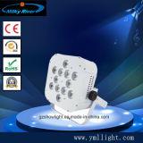 9PCS 10W 4in1 LED 동위 빛 재충전 전지 및 무선 DMX 편평한 동위 빛