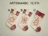 "12.5 ""H Patchwork + Decoración de Navidad Handstitched Stocking-3asst."