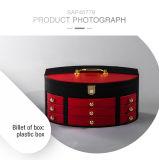 Caja de embalaje de la joyería de cuero plástica retra de lujo con el cajón