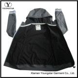 Ys-1068 Hommes Hommes Noir Imperméable respirant Microfleece Hooded Softshell Jacket