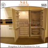 MDFのラッカーガラスのドアが付いている現代台所食器棚