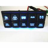 Cuadrilla impermeable del panel 6 del interruptor del coche del infante de marina/del barco con el interruptor de eje de balancín con./desc. ligero azul 5pin del indicador del voltaje del cargador del USB y del socket de potencia LED