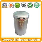مستديرة معدن قصدير قهوة وعاء صندوق مع غطاء سدود, قهوة قصدير صندوق