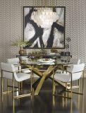 Round Verre Acier inoxydable Base de table de salle à manger A502 #