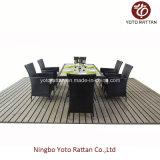 Conjunto de jantar de vime ao ar livre com 6 cadeiras (1112)