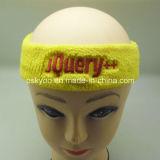 Vendas de muñeca tejidas de la venda del baloncesto del algodón de Terry de la insignia de la escritura de la etiqueta