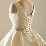 Vestidos de casamento luxuosos Ruffled grânulos dos vestidos nupciais do cetim (Z2030)