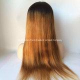 """24의 """" 긴 Ombre 머리 가발 180% 정면 레이스 가발 1b/#27"""