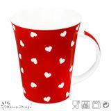 tazza di ceramica 12oz con la vendita calda della decalcomania del cuore