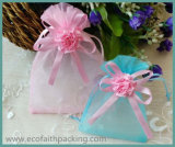 Sacs de sucrerie de mariage d'organza de sac de cadeau d'organza avec le Bowknot de bande