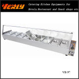 Heißes Sale Commercial Food Warmer, Electric Bain Marie mit Curve Glass 5 Basins, CER Approved (VB-94)