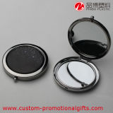Espejo material del maquillaje del compacto del bolsillo de la dimensión de una variable redonda del metal