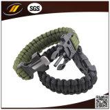 A sobrevivência ao ar livre 7 encalha o bracelete de 550 Paracord com começo do incêndio do sílex e assobio (HJ6067)