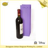 Bolsa de papel revestido imprimible de lujo para el rectángulo de empaquetado del vino