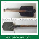 Pelle portative se pliante en acier à pelle à pelle avec le traitement en bois