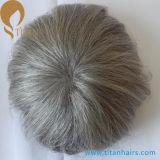 自然なヘアライン灰色の人間の毛髪の置換システム