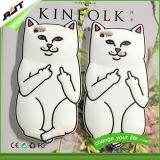 백색 고양이 실리콘 이동 전화 덮개 또는 셀룰라 전화 상자