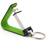 Mecanismo impulsor de cuero del flash del USB del USB Pendrive del metal con Keychain